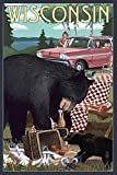 Wisconsin - Bear and Picnic Scene (16x24 Collectible Giclee Gallery Print, Wall Decor Travel Poster)
