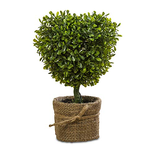 French Country Style Heart Shaped Faux Topiary Tree, Realistic Boxwood, Pre-lit 5 LEDs, Burlap Wrapped Pot, Vibrant Green, 10 1/2 Inches, Mixed Materials, Cordless (3 AAA Batteries Not Included) ()