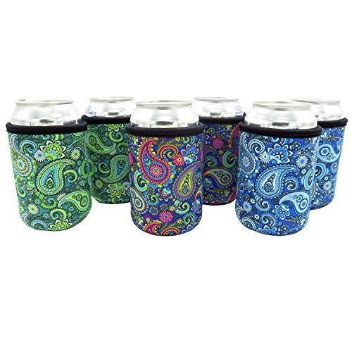 Beer Can Sleeves - Set of 6 Can Sleeves - Extra Thick Neoprene with Stitched Fabric Edges (Paisley)