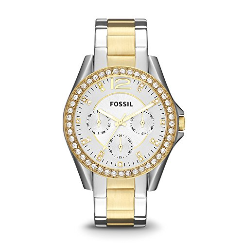 Fossil Women's Riley Quartz Two-Tone Stainless Steel Dress Watch, Color: Silver and Gold-Tone (Model: ES3204)