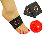 CULL Highest 35% Copper Compression Arch Support Sleeves: Plantar Fasciitis Pain Relief Arch Bands + Therapy Ball In Carry Bag|Comfy & Sturdy Sleeves for Men/Women|Stop Flat Feet/Foot Arch Support Set