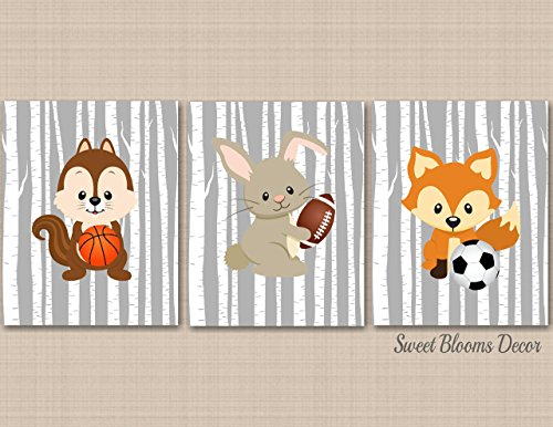 Woodland Nursery Decor,Woodland Nursery Wall Art,Sumersault Woodland Friends,Animal Sports Wall Art,Woodland Décor,Sports Kids Room Decor -UNFRAMED Set of 3 PRINTS (NOT CANVAS) C362