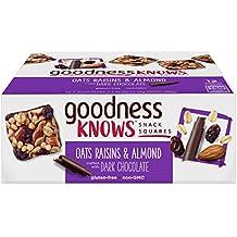 goodnessKNOWS Oats, Raisins, Almond & Dark Chocolate Gluten Free Snack Square Bars 12-Count Box