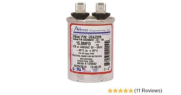AMRAD R200037-156 15.0 MFD 370 VAC CAPACITOR LOT OF 2-