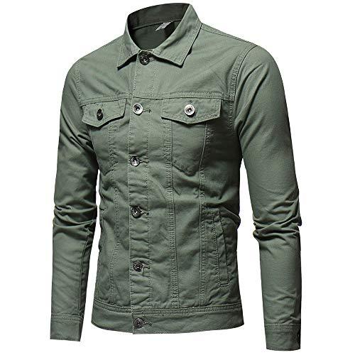 Top Verde Uomo Bottone In Cappotto Solido green Denim Militare Camicetta Verde Vintage Zolimx Giacca Jeans Uomo Colore army nqgx4UA