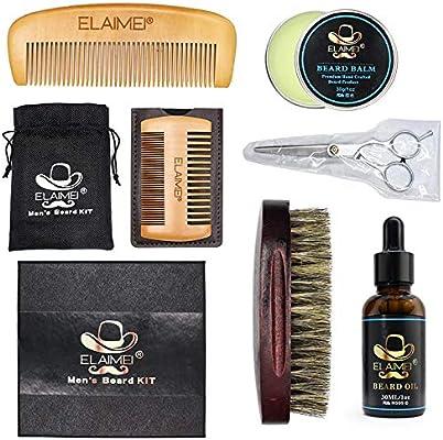 ELAIMEI Kit de cuidado de barba 6 en 1 y recorte de barba para hombres, aceite bigote de barba, cepillo de barba, peine, tijeras y bolsa de viaje, lo mejor para moldear