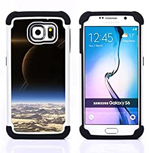 GIFT CHOICE / Defensor Cubierta de protección completa Flexible TPU Silicona + Duro PC Estuche protector Cáscara Funda Caso / Combo Case for Samsung Galaxy S6 SM-G920 // Saturn View Space Art Alien Planets Cosmos //