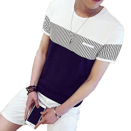 (huanggu) フアングー 夏 メンズ 丸ネック 半袖シャツ ボーダー柄 ゴルフシャツ 運動服 かっこいい (M, ホワイト)