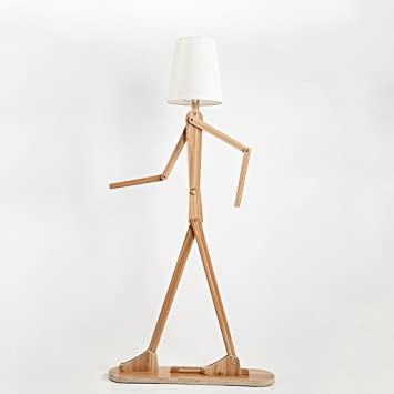 WPCBAA Lámpara de pie de Madera, Forma Creativa DIY lámpara ...