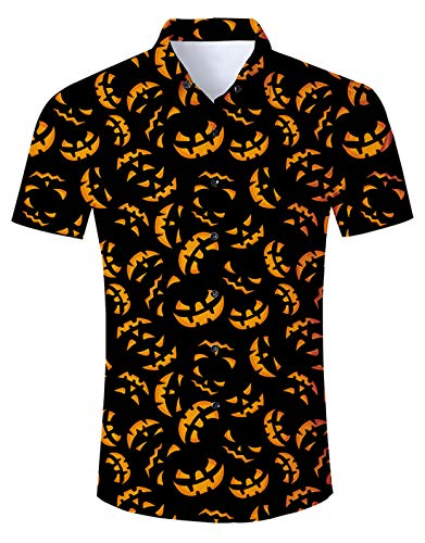 Mens Halloween Dress Shirt Womens Happy Pumpkin Button Down T Shirts Short Sleeve Horrible 3D Costumes Adult Summer Vacation Holiday 2018 Tops Slim Fit Round Neck Fun Apparel Lightweight Black L