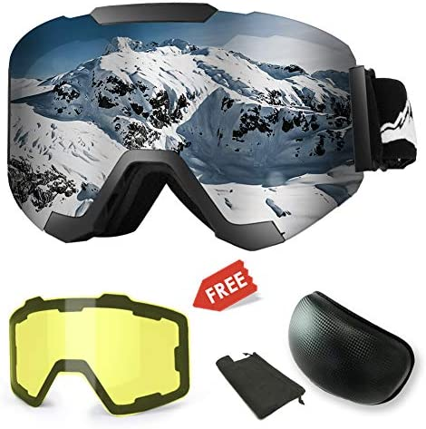 Extra Mile 2019New Ski Goggles, Anti-Fog UV Protection Winter Snow Sports Snowboard Goggles with Interchangeable Spherical Dual Lens for Men Women Youth Snowmobile Skiing Skating