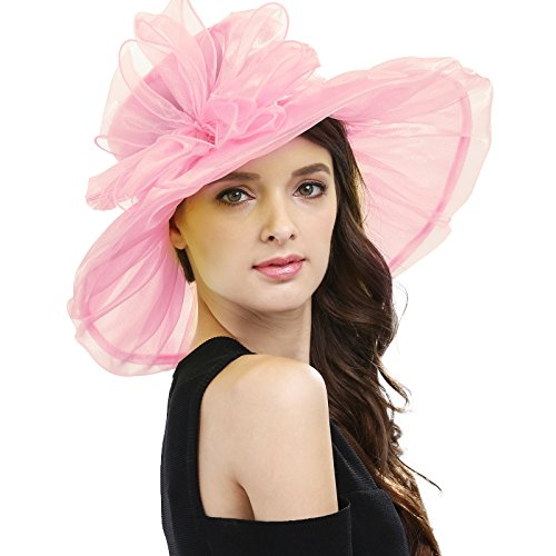Janey&Rubbins Women's Kentucky Derby Party Hats Church Organza Dress Caps (Big Pink Hat)