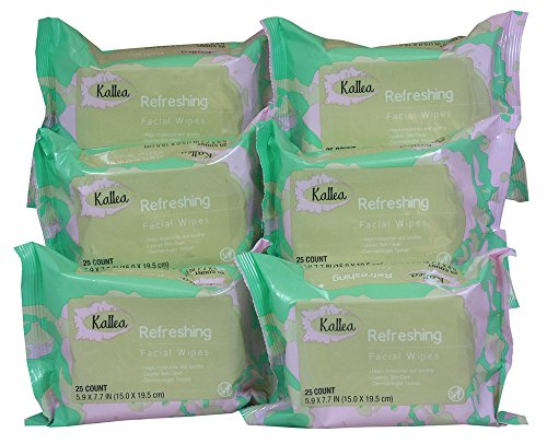 41-fu1YyNGL Kallea Refreshing Makeup Remover Towelettes & Facial (Face) Wipes, 25 Count (Pack of 6)