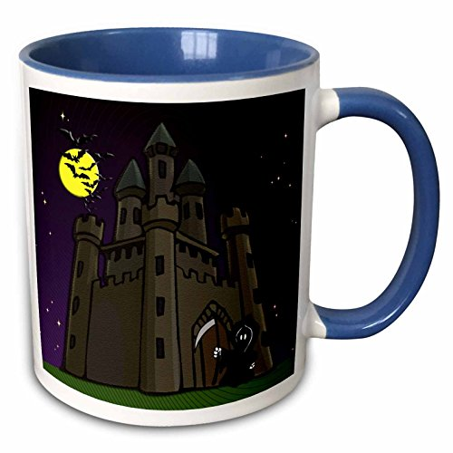 (3dRose Sandy Mertens Halloween Designs - Castle, Bars, Grim Reaper with Purple Sky - 15oz Two-Tone Blue Mug (mug_156728_11))