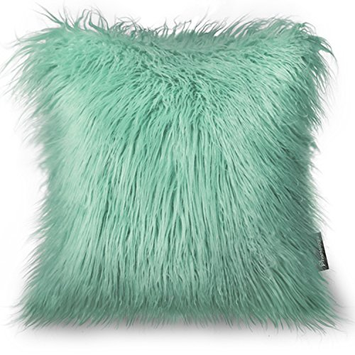 Phantoscope Decorative New Luxury Series Merino Style Green Faux Fur Throw Pillow Case Cushion Cover 18