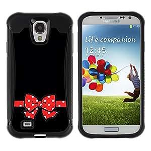 LASTONE PHONE CASE / Suave Silicona Caso Carcasa de Caucho Funda para Samsung Galaxy S4 I9500 / Mouse Red Poke Dot Black Minimalist