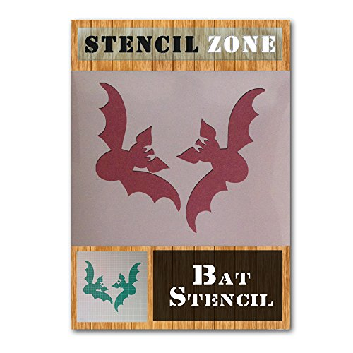 Bat Halloween Mylar Painting Pumpkin Wall Art Stencil Eight (A6 Size Stencil - XXSmall) ()