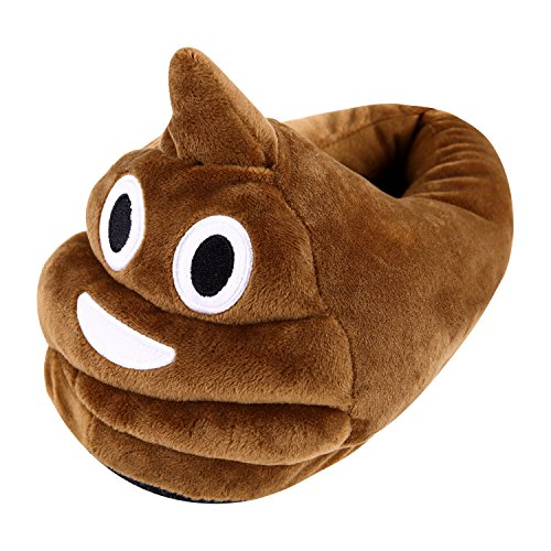 Misscat Unisex Emoji Funny Cartoon Cute Slippers Plush Soft Warm Winter Indoor Home Shoes (Brown)]()