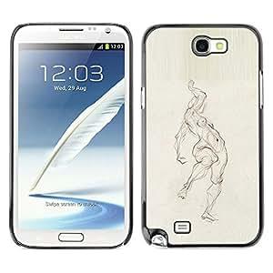 For SAMSUNG Galaxy Note 2 II / N7100 Case , Pencil Woman Figure Body - Diseño Patrón Teléfono Caso Cubierta Case Bumper Duro Protección Case Cover Funda