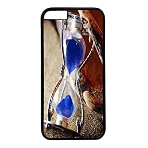 Black PC Case Cover For iPhone 6 Plus Single Back Phone Shell Skin For iPhone 6 Plus With Blue Hourglass