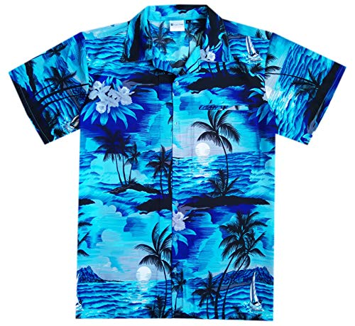 Hawaiian Shirts for Men Casual Button Down Short Selvee Aloha Dark Turquoise ()
