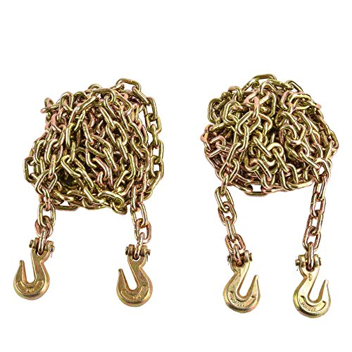 Lowest Prices! SUNCOO 2Pcs Tow Chain 3/8x20 G70 with Hooks Tie Down Binder Chain Flatbed Truck Tra...