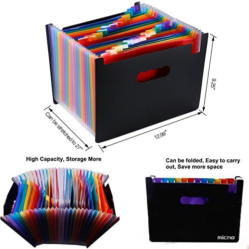 Expanding File Folder/24 Pockets A4 Accordion File Organizer/ Multicolor Portable Expanding Wallets/ High Capacity Plastic Stand Bag With Colored Tab For Business/Office/Study by MICNO (Image #1)