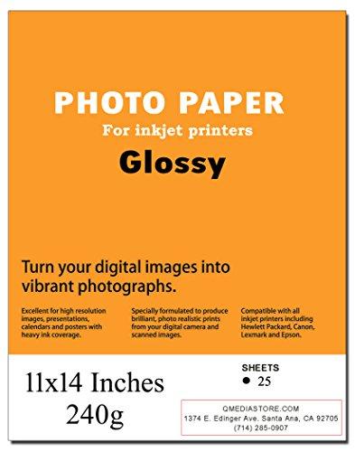 Glossy Inkjet Photo Paper (11x14 / 240g / 25-Sheets)
