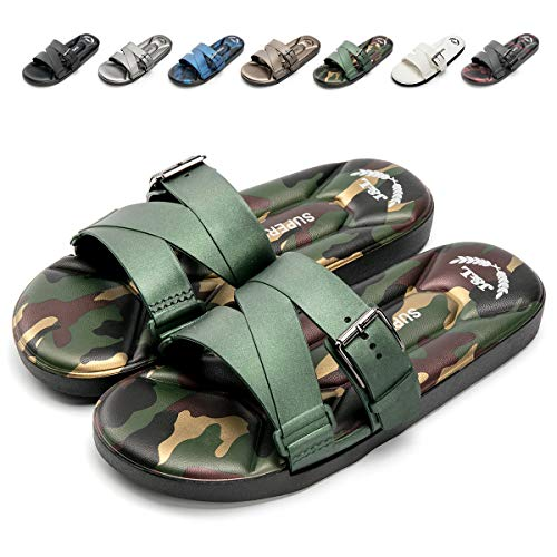 Nazhi Yang Slides Sandals for Men Soft Comfort Non Slip Adjustment Flat Sandals,2018 New(Men-9 US(D) M /43,Camouflage Green) (Fashion Summer New)
