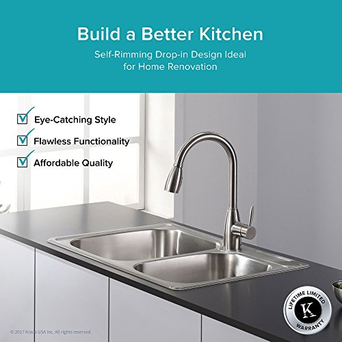 best prices on kitchen sinks kraus ktm32 33 inch topmount 60 40 bowl 18 7772