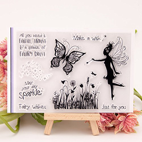 Shoresu Fairy Butterfly Clear Stamps Sheets Transparent Silicone Seal for DIY Scrapbooking Photo Album Decorative 15x10cm/5.9x3.93