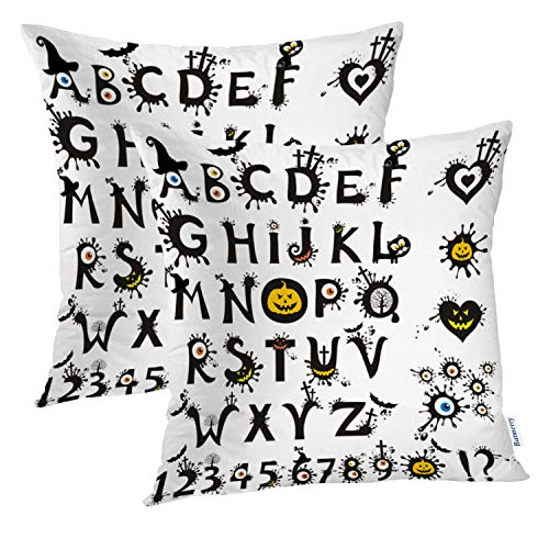 Batmerry Halloween Pillow Covers 18x18 inch Set of 2, Scary Halloween Font Treat Alphabet Trick Cartoon Gothic Throw Pillows Covers Sofa Cushion Cover Pillowcase ()