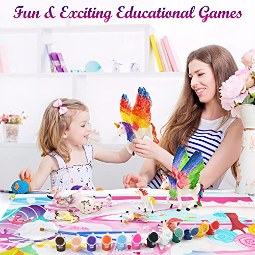 BenBen Unicorn Toys and Painting Kit, Kids Creative Arts and Crafts Supplies for Girls and Boys Aged 3+, Paint Your Own Unicorn with Activity Play Mat