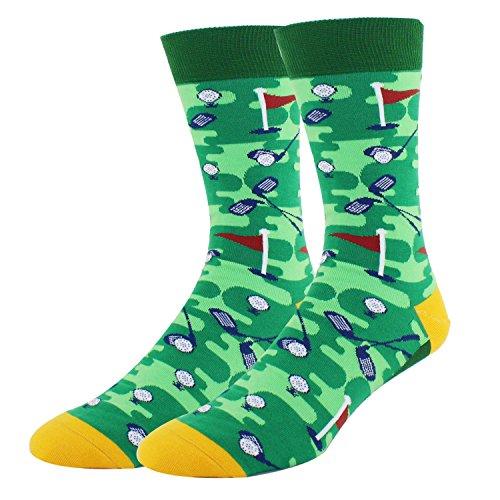 Mens Novelty Fun Sporting Golf Crew Socks Crazy Funny Sports Socks in Green