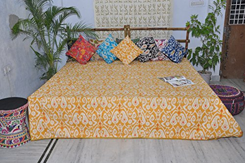 King Size Quilt Kantha Quilts Ikat Yellow (Quilt Geometric compare prices)