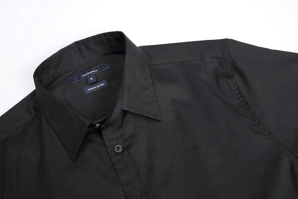 Pau1Hami1ton Mens Long-Sleeve Premium Cotton High-Count/&Density Poplin Shirt P-16