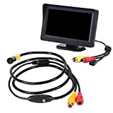 Kobwa Industrial Video Endoscope 1Meter, 4.3 Inches TFT-LCD Color LCD Montior 5V Mini AV Rigid Cable Borescope Inspection Snake Cmaera with 0.39 Inch Diameter Waterproof Probe CMOS Camera