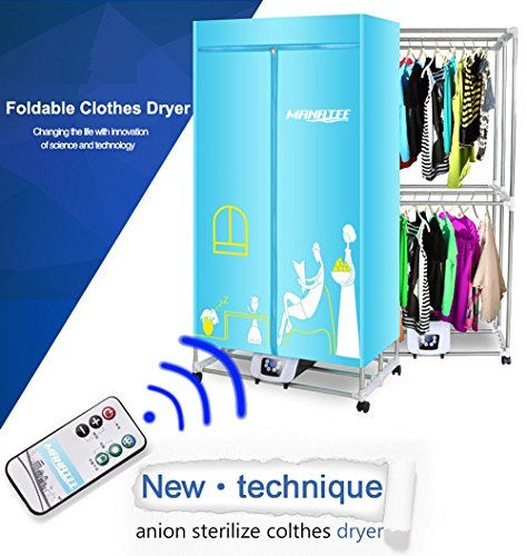 Portable Clothes Dryer 1200W Electric Laundry Drying Rack 33 LB Capacity Best Energy Saving (Anion) Folding Dryer Quick Dry & Efficient Mode Digital Automatic Timer with Remote Control
