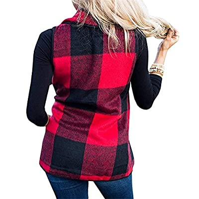 Rvshilfy SocoToo Women's Color Block Lapel Open Front Sleeveless Plaid Vest Cardigan with Pockets (Red Medium) at Women's Clothing store
