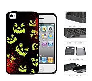 Halloween Scary Face Glow And Blood Splatter 2-Piece Dual Layer High Impact Rubber Silicone Cell Phone Case Apple iPhone 4 4s