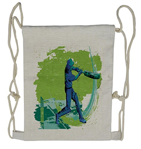 Ambesonne Sports Drawstring Backpack, Cricket Player Pitching, Sackpack Bag by Ambesonne
