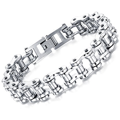 Star Jewelry Stainless Steel Bike Chain Bracelet Punk Rock Link Wristband Chain Bracelets Bangle 8.5 Inch