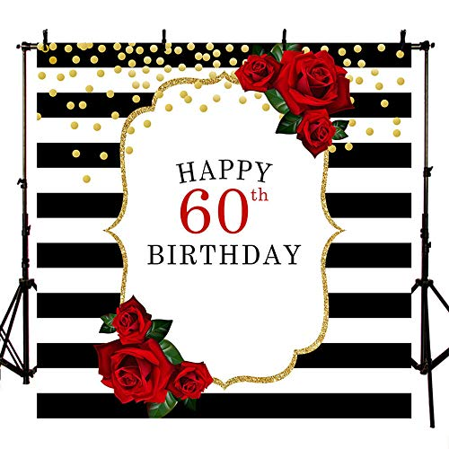 MEHOFOTO Happy 60th Birthday Photo Studio Booth Background Black and White Stripes Red Rose Flowers Gold Dots Party Banner Backdrops for Photography 8x8ft