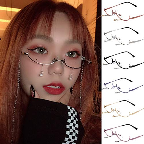 Haluoo 2019 Fashion Women No Lens Chain Pendant Decoration Flat Mirror Sunglasses Metal Frame Eyewear Glasses (Blue)