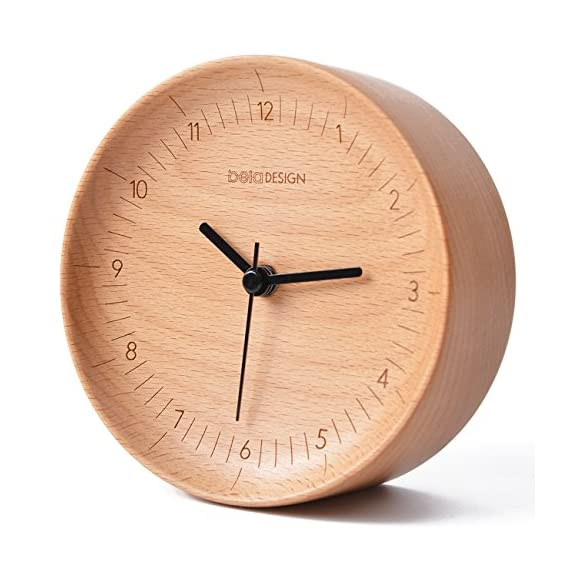 belaDESIGN Clock - Made of 100% black walnut,subtle fragrance, warm touch, wood grain. Silent, no ticking to guarantee accurate time and ultra-quiet surroundings. All crude woods are in line with FSC argument,bringing you a healthy and low-carbon life. - clocks, bedroom-decor, bedroom - 514mQyyL7cL. SS570  -