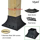 Myard 4x4 (actual 3.5x3.5) Inches Post Base Cover Skirt Flange w/Screws for Deck Porch Handrail Railing Support Trim Anchor (Qty 2, Black)
