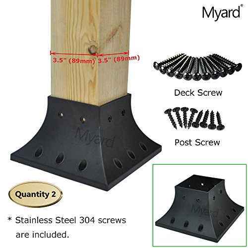 Railing Post Anchor - Myard 4x4 (actual 3.5x3.5) Inches Post Base Cover Skirt Flange w/Screws for Deck Porch Handrail Railing Support Trim Anchor (Qty 2, Black)