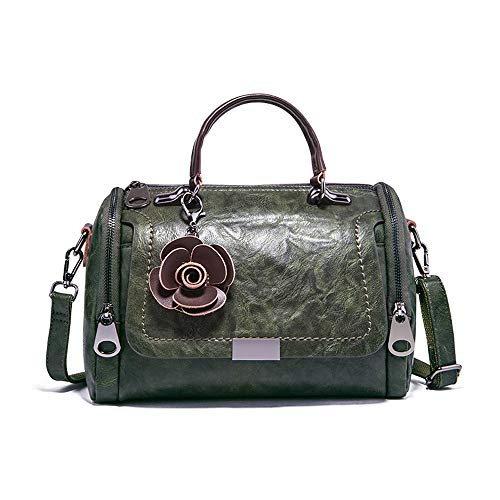 Mn&Sue Boston Style Handbags for Women Small Top Handle Satchel Crossbody Mini Barrel Purse (Dark Green)