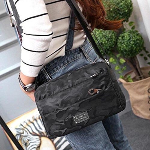 borse nylon donna tracolla cerniera moda di tracolla Borsa Camo casual impermeabile a Nero in ax6SofqE