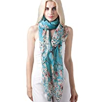 Womens Floral Birds Print Long Scarf Shawl and Wrap by MissShorthair